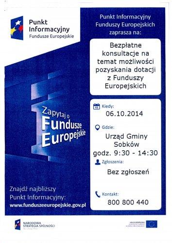 Bezpłatne konsultacje na temat możliwości pozyskania dotacji zFunduszy Europejskich